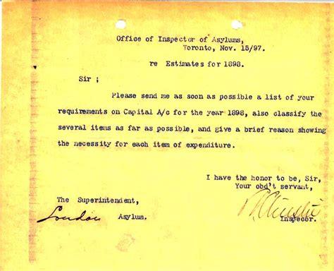 Patient Estimate Letter Restoring Perspective Treatment At S Asylum