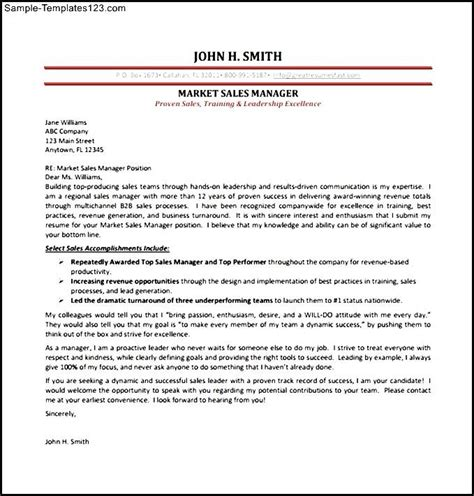 Sle Manager Evaluation Letter Marketing Sales Manager Cover Letter Pdf Template Free Sle Templates