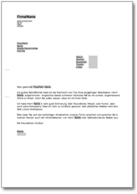 Musterbrief Geschäftspartner Ruhestand Kondolenzschreiben An Den Gesch 228 Ftsf 252 Hrer De Musterbrief