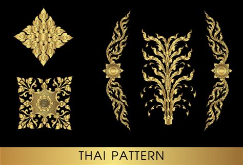 thai pattern font golden thai ornaments art vector material 10 vector