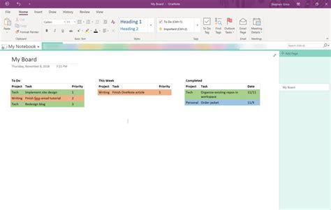 How To Create A Kanban Board In Onenote Steve Grice Medium Onenote Kanban Board Template