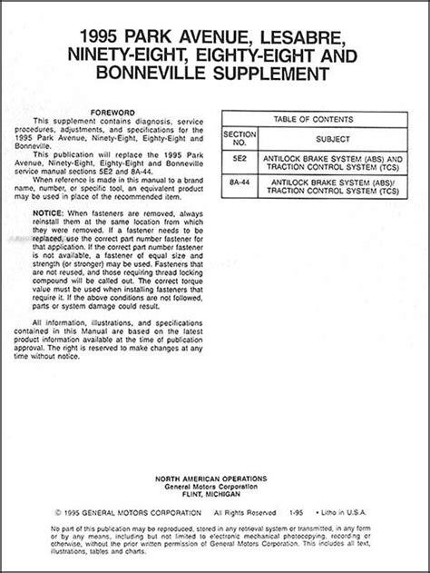 1995 Shop Service Manual Set for Bonneville 88 98 LeSabre