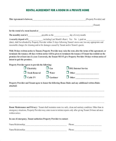 room rental agreement template 6 free word pdf free