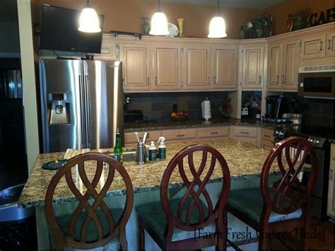Kitchen Island Vintage Oak Kitchen Cabinets In Annie Sloan Chateau Grey And