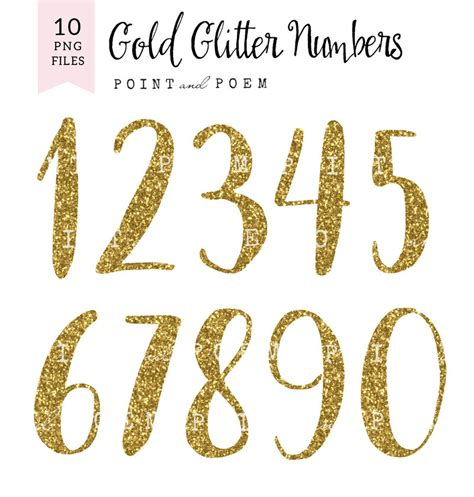 numeri clipart numbers clip glitter letters cliparts gold glitter