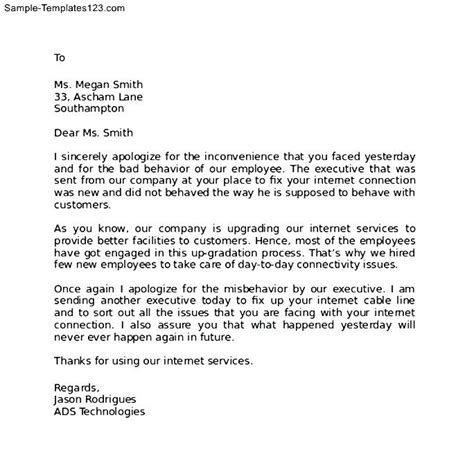 Apology Letter To My Client formal apology letter to client sle templates