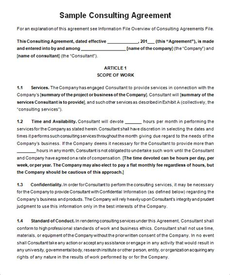 consulting agreement template 25 consulting agreement sles sles and templates