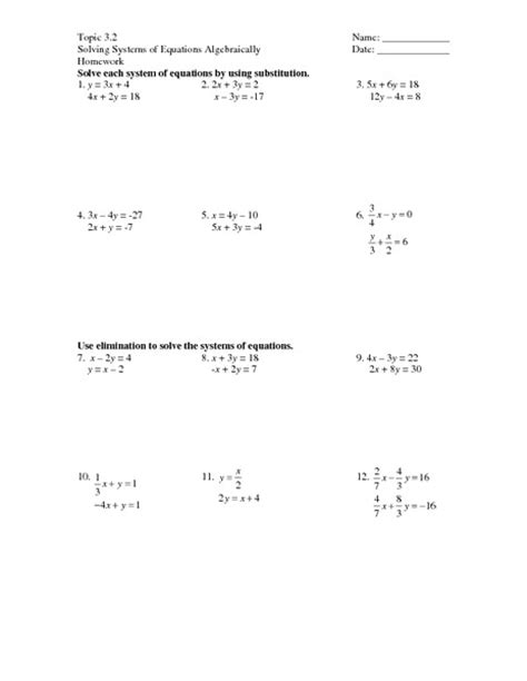 System Of Equations Worksheets by Worksheets Solving System Of Equations By Substitution