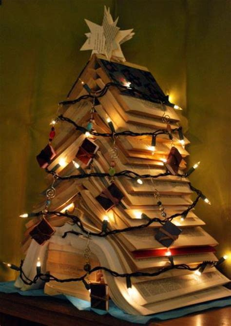 alternative christmas tree designs made with book favbulous