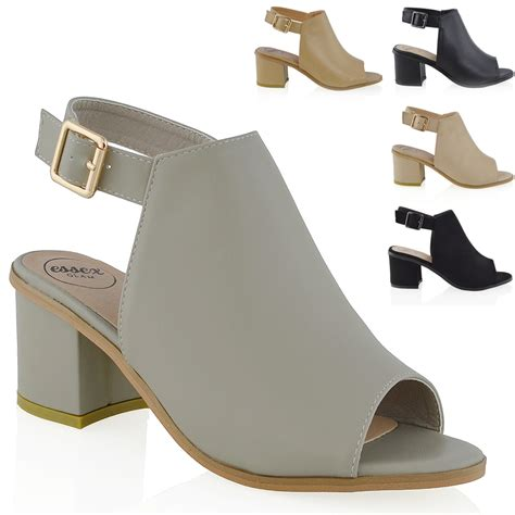 womens low heel peep toe buckle mule open back