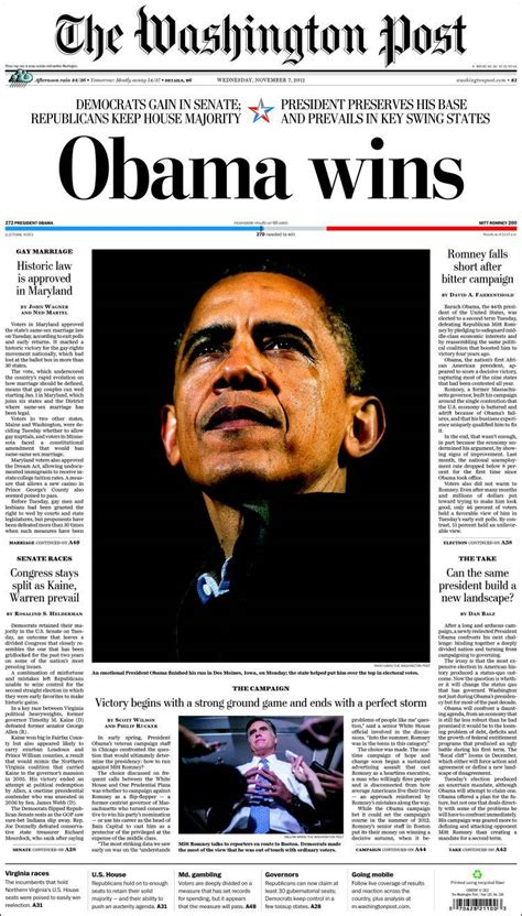 newspaper front pages  obama  election