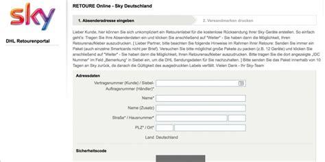 sky retourenschein ausdrucken deutschland