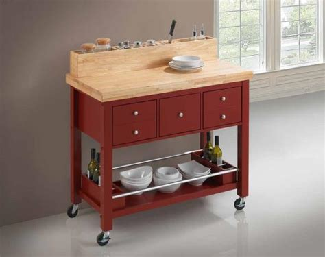 red kitchen island cart coaster 102667 red kitchen cart with light natural top