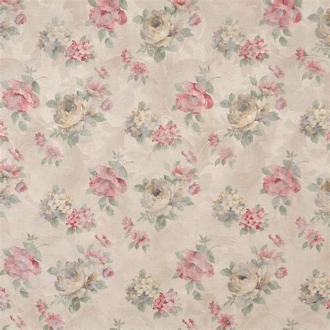 pastel upholstery fabric red green and beige pastel floral roses upholstery