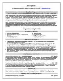Resume Template Engineering by Power Engineer Resume Sle Template
