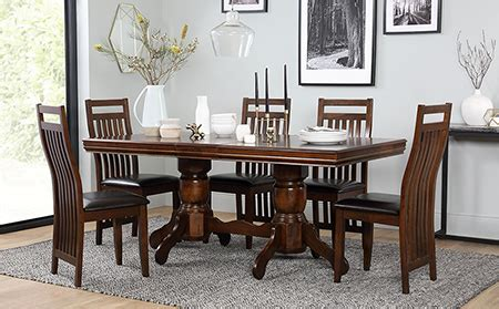 chatsworth extending wood dining table and 6 java