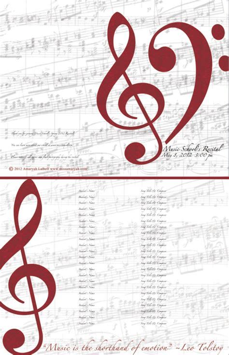 Free Printable Music Program Template Music Search Engine At Search Com Recital Program Template