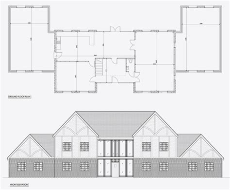 floor plan and elevation of a house elevation cedeon design