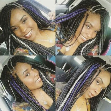 grey and purple combined together style box breads grey and purple box breads long box braids purple grey and