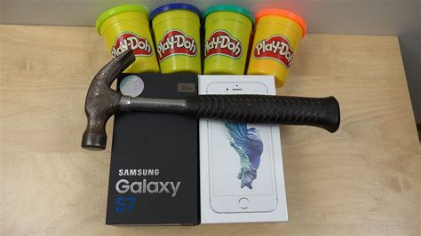 samsung galaxy   iphone  play doh hammer smash test   survive youtube