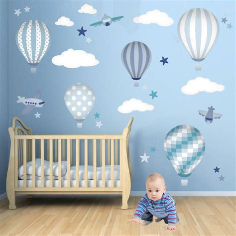 wall decals for baby boy room air balloons jets nursery wall modern wallpaper by enchanted interiors