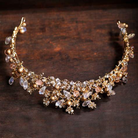 Handmade Vintage Wedding Hair Accessories by Crown Wedding Hair Accessories Tiara Handmade Golden