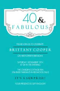 40th birthday invite template 40th birthday invitations teal and fabulous 40th
