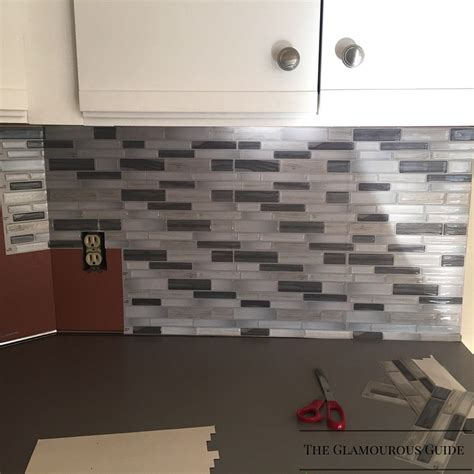 sticky backsplash for kitchen installing a tile backsplash using a self adhesive mat