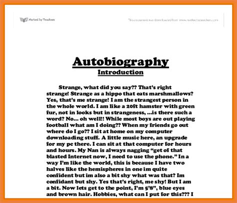 Exles Of An Autobiography Essay by Exles Of Autobiography Sop