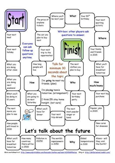 printable games for esl board game let s talk about the future worksheet free