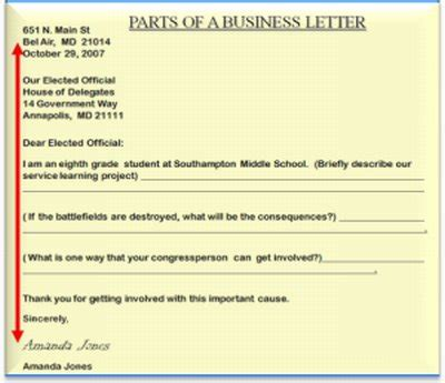 business letter exle middle school best photos of friendly letter format business sle