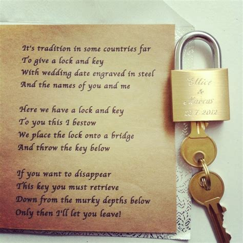 Wedding Quotes Key by A Lock And Key The Poem Says It All Wedding Ideas