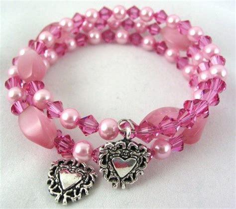 Handmade Memory Wire Bracelets - handmade pink cats eye swarovski pearl memory wire