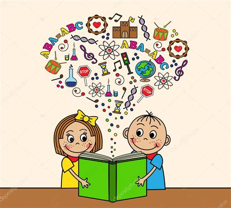 inicio libros de dibujos animados vector de stock dibujos animados los ni 241 os leen un libro vector de stock