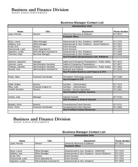 Free Contact List Template 10 Free Word Pdf Documents Download Free Premium Templates Sheets Contact List Template