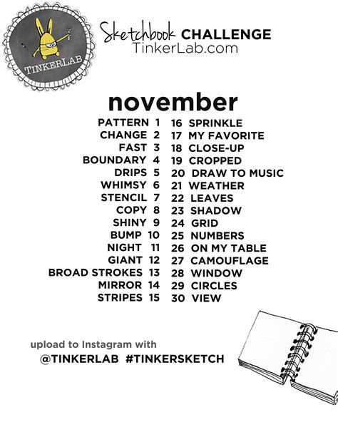 sketchbook challenge november sketchbook challenge tinkerlab