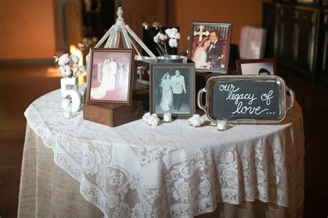 legacy table. pictures from parents and grandparents