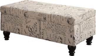 script ottoman norah french script pattern storage ottoman from coaster