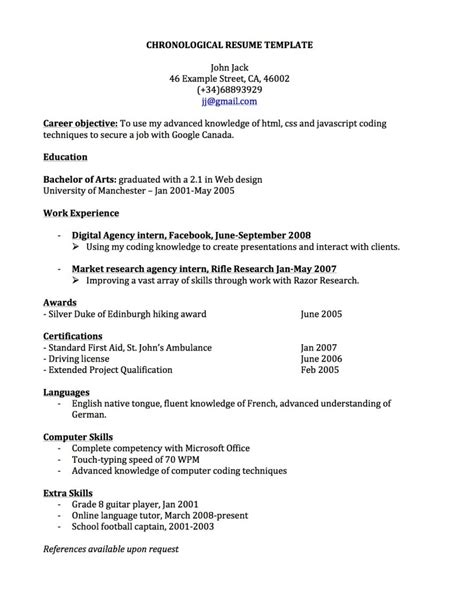pretty design chronological resume 14 sample chronological resumes