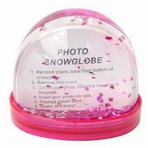 plastic ps promotional glitter snow globe photo frame with