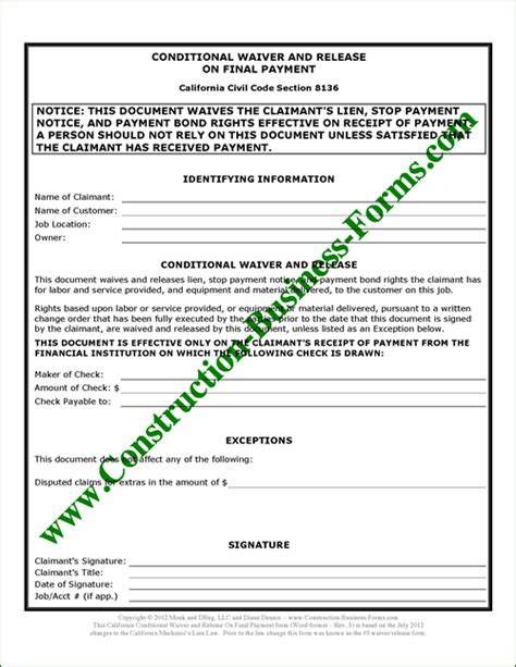 3 California Lien Waiver And Release Form Upon Final Payment Conditional Lien Release Template