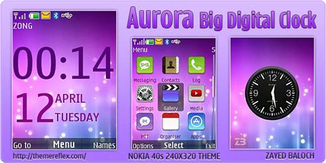 themes digital clock download aurora big digital clock theme for nokia x2 240 215 320