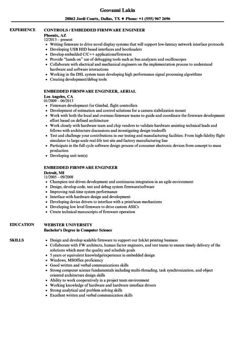 lovely experience resume sle for embedded engineer