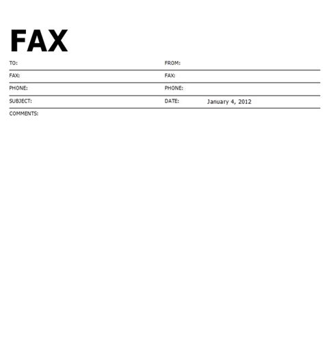fax template printable standard format fax cover sheet