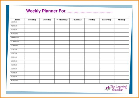 weekly meal planner template word planner template word school certificate sles free home sale contract