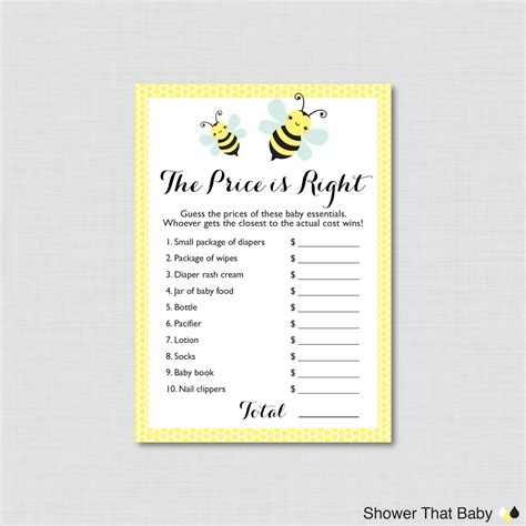 Bumble Bee Baby Shower To Bumble Bee Baby Shower Price Is Right Printable Bumble