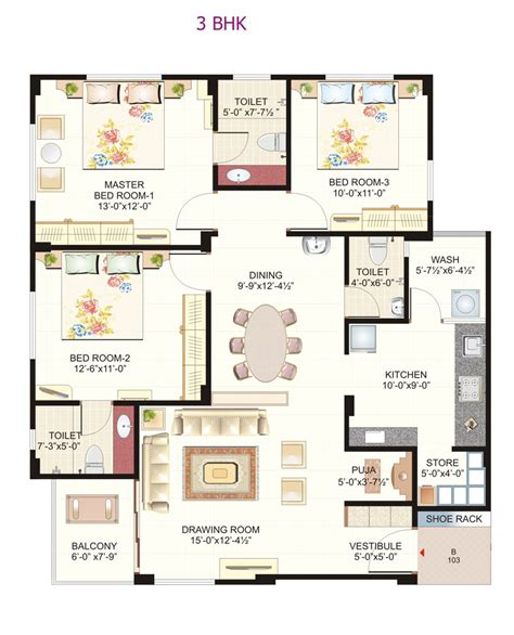 single floor 3 bhk house plans 3 bhk home plans india