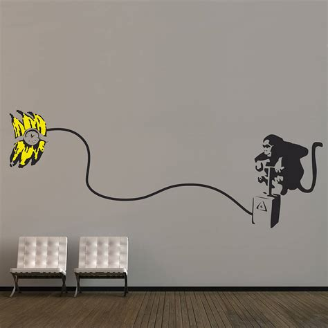 wall stickers banksy banksy monkey bomb wall stickers by the binary box