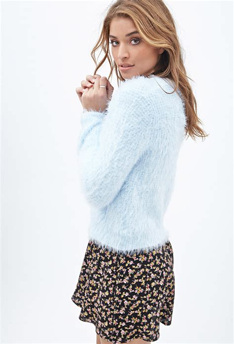 Forever21 Soft Knit T3010 3 forever 21 fuzzy waffle knit sweater in blue lyst