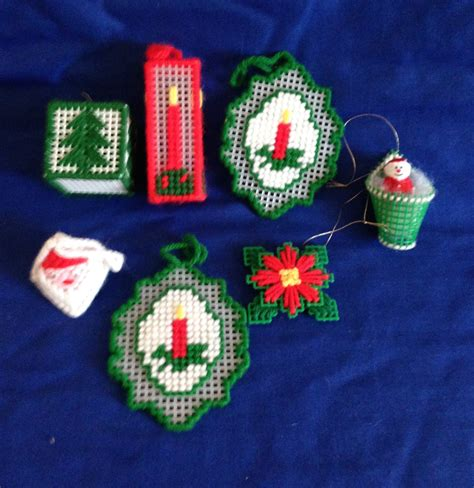 southwest christmas ornaments plastic canvas set of 7 plastic canvas tree ornaments candle santa